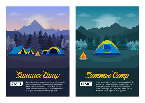 Vector morning and night mountains summer camp vertical banners