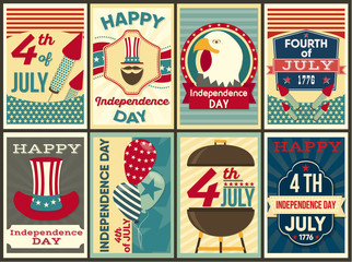 Independence Day of the United States. Set of elements Happy Fourth of July in flat Style. Vector Illustration.