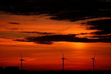 Power-generating windmill turbines are pictured during sunset at a wind park in Flesquieres near Cambrai