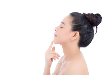 Portrait asian brunette woman makeup of cosmetic, girl hand touch chin and smile attractive, face of beauty perfect with wellness isolated on white background with skin healthcare concept.