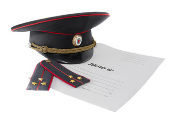 Police shoulder straps, cap and folder on a white background. The Russian text is a criminal case.