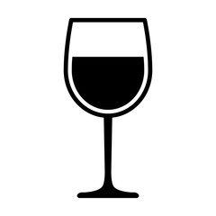 Wine glass with wine for tasting flat vector icon for apps and websites