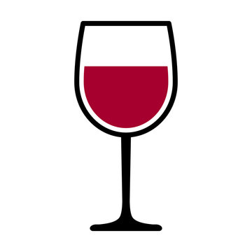 Wine glass with red wine for tasting flat vector icon for apps and websites