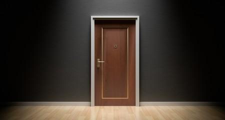 Brown Door in Gray Wall