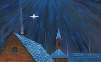 Moonlight night over the village. Big star. Roofs of houses. From the chimneys goes smoke. Church in the background. Oil painting.