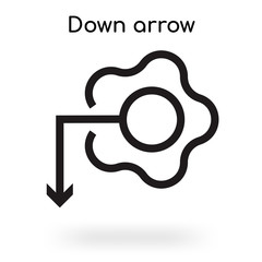 Down arrow icon vector sign and symbol isolated on white background, Down arrow logo concept