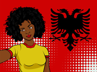 african american girl makes selfie in front of national flag Albania in pop art style illustration. Element of sport fan illustration for mobile and web apps