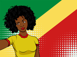 african american girl makes selfie in front of national flag Congo in pop art style illustration. Element of sport fan illustration for mobile and web apps