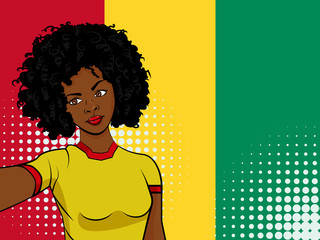 african american girl makes selfie in front of national flag Guinea in pop art style illustration. Element of sport fan illustration for mobile and web apps