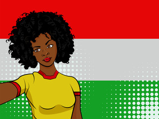 african american girl makes selfie in front of national flag Hungary in pop art style illustration. Element of sport fan illustration for mobile and web apps