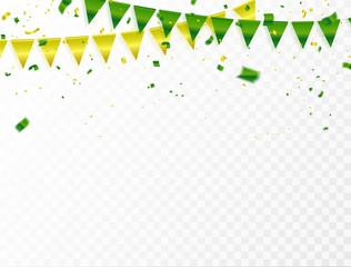 Celebration background template with confetti and green and yellow ribbons.