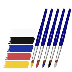 set of paint brush with color stroke on transparent background