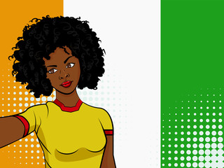 african american girl makes selfie in front of national flag Ivory Coast in pop art style illustration. Element of sport fan illustration for mobile and web apps