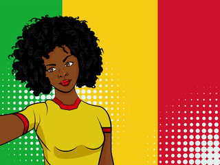 african american girl makes selfie in front of national flag Mali in pop art style illustration. Element of sport fan illustration for mobile and web apps