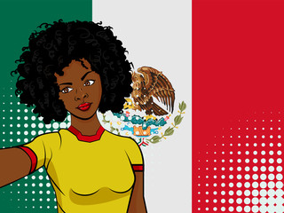 african american girl makes selfie in front of national flag Mexico in pop art style illustration. Element of sport fan illustration for mobile and web apps