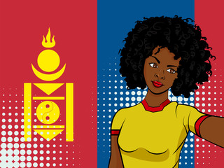 african american girl makes selfie in front of national flag Mongolia in pop art style illustration. Element of sport fan illustration for mobile and web apps
