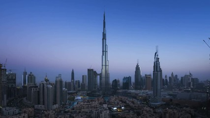 Fotomurales - sunrise timelapse, downtown of Dubai, UAE