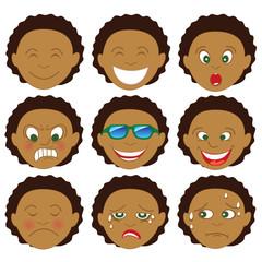 Mixed Afro Boy Emoticon Emoji