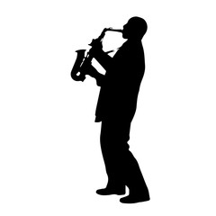 Saxophonist Silhouette. Vector EPS 10