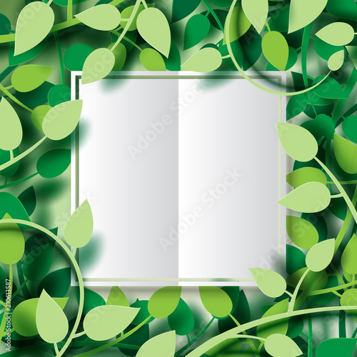 Paper cut of tropical green leaves with white origami paper frame ...