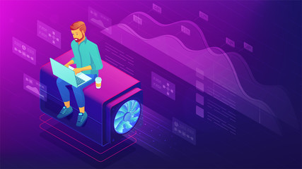 Isometric web developer concept. Blockchain freelance front end and back end programmer with laptop, global development, coding illustration on ultraviolet background. Vector 3d isometric illustration