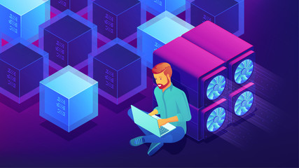 Isometric blockchain technology development concept. Blockchain developer sitting near GPU mining farm with laptop, writing code. Vector 3D isometric illustration on ultraviolet background.