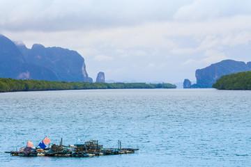 raft made by pine wood in Ban Sam Chong fishing village