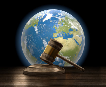earth and wooden judge gavel 3d-illustration