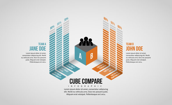 Isometric Cube Compare Infographic