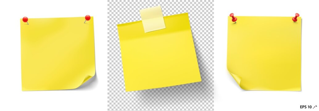 Yellow stick paper notes with push pins and tape on white background. Vector illustration. Can be use for your design, presentation, promo, adv. EPS10.