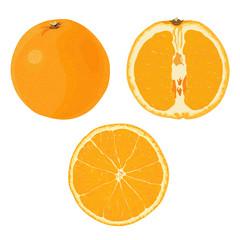 Изолированные изображения спелого целого  апельсина, половины апельсина и круглой дольки апельсина. Переработка фруктов, сок, джем, цукаты.
