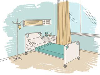 Hospital ward graphic color interior sketch illustration vector
