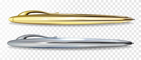 Ballpoint pen vector illustration of 3D realistic golden and silver mockup models with clipper for premium writing pens stationery and branding design template