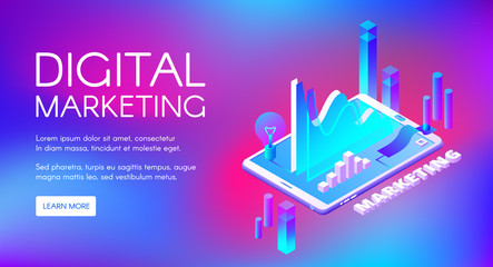 Digital marketing vector illustration of business market research and development. Isometric data infographic of profit charts or income growth and idea lamp in smartphone on ultraviolet background