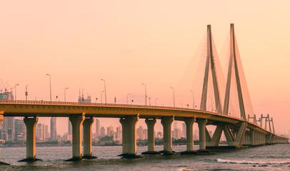 Bandra Worli Sea link in Mumbai, India at sunset