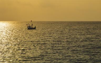Fishing alone in the sea