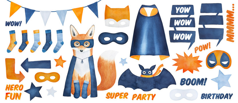 Big super hero collection with modern fox character, props, messages and accessories. Hand drawn water color drawing on white background, cut out clip art elements for design, print and decoration.