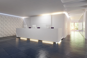 modern reception desk design.