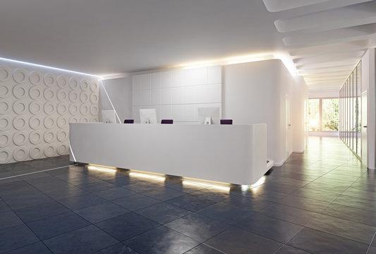 modern reception desk design.