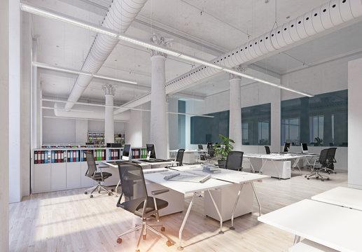 modern loft office interior.