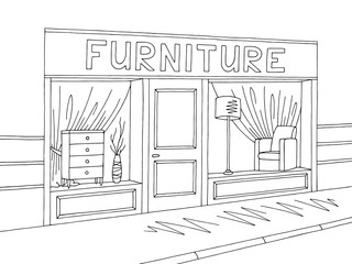 Furniture store shop exterior graphic black white sketch illustration vector