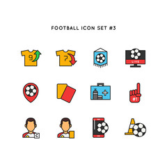 Football sport icon set. Soccer object illustration. Simple clean colored symbol.