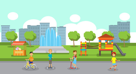 girls boys cycling riding gyroscooter full length over city park children playground fountain icecream flowers green lawn trees cityscape template background flat vector illustration