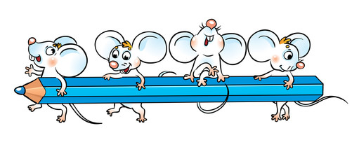school mice are sitting on a pencil.