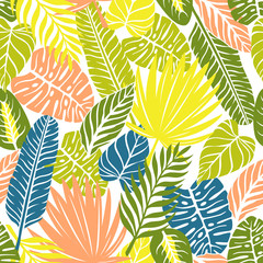 Exotic Jungle Plants Seamless Pattern on White Background.