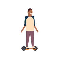 african boy riding gyroscooter over white background. gyroboard concept. cartoon full length character. flat style vector illustration