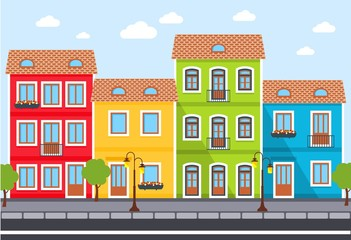 Street. City background . Town scene with row of houses along the street. Vector illustration.