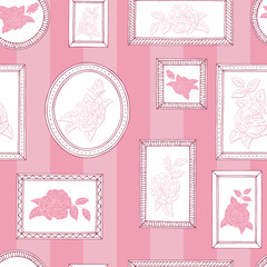 Picture frame rose flower graphic pink white color seamless pattern sketch background illustration vector