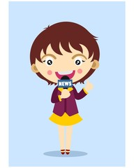 cute little kids reporter news girl cartoon character