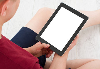 Man sitting with tablet in hands. Online shopping.Top view.Mock up.Copy space.Template.Blank.